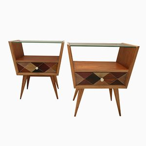 Glass Top Beechwood Bedside Table, 1950s, Set of 2