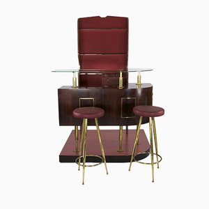 Italian Rosewood Bar with Two Bar Stools, 1950s