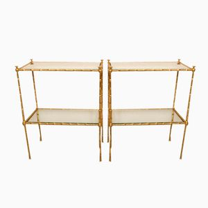Brass Bamboo Side Tables, 1960s, Set of 2