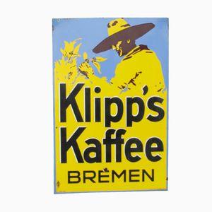 Panneau Promotionnel Klipp's Kaffee Bremen Vintage Emaillé, 1920s