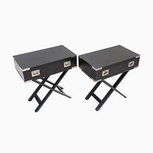 Black Wooden Side Tables, 1980s, Set of 2