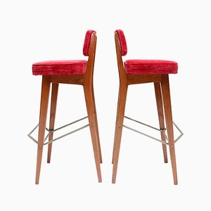 Red Velvet Stools by Fred Sandra for De Coene, 1950s, Set of 2