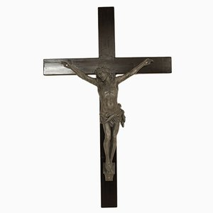 Antique Jesus Figure on Black Wooden Cross, 1880s