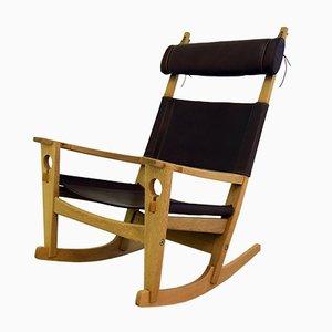 Rocking Chair Modèle Keyhole GE-673 par Hans J. Wegner pour Getama, 1960s