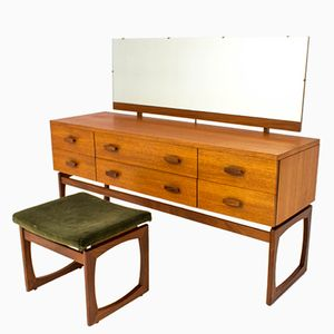 Quadrille Long Dressing Table with Matching Stool from G Plan