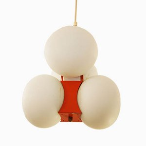 Mid Century Pendant Lamp with Opal Glass Globes