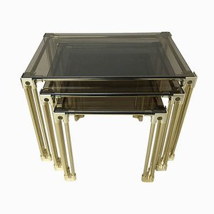 Golden Smoked Glass Side Tables, Set of 3