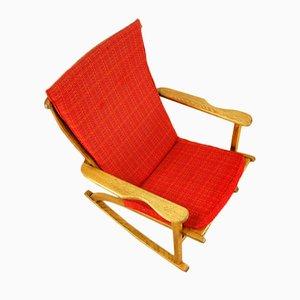 Rocking Chair Vintage Scupturale en Chêne