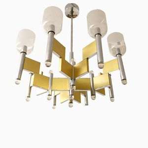 Italian Vintage Geometric Ceiling Light by Gaetano Sciolari