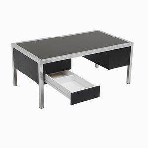 Ebonized Wood and Chromed Metal Desk, 1970s
