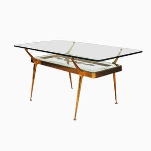 Italian Glass & Brass Coffee Table, 1950s