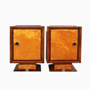 French Cubist Nightstands, 1940s, Set of 2