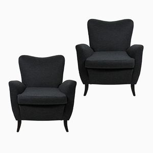 Italian Wood and Grey Fabric Armchairs, 1950s, Set of 2