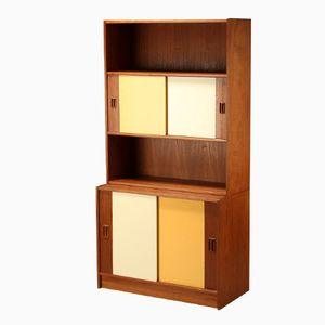 Danish Teak Bookshelf with Sliding Doors, 1960s