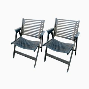 Black Rex Folding Chairs by Niko Kralj, Set of 2