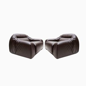Vintage Leather Club Chairs from Durlet, 1970s, Set of 2