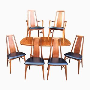 Teak Dining Set with Table and 6 Chairs by Niels Kofoed for Koefoeds Hornslet, 1960s