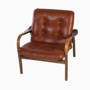 Brown Leather Armchair by Yngve Ekström for Swedese