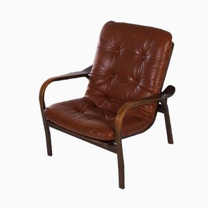 Brown Leather Armchair by Yngve Ekström for Swedese