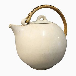 White Glazed Teapot with Bast Handle No. 68 from Saxbo