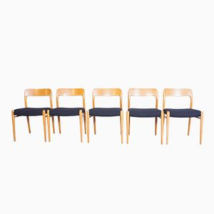 Model No. 75 Dining Chairs by Niels Otto Møller for J.L Møllers, Set of 5