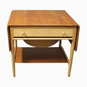 Tavolo da cucito in quercia e teak di Hans J. Wegner per Andreas Tuck, anni '50