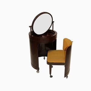 Italienischer Schminktisch mit Stuhl, 1970er