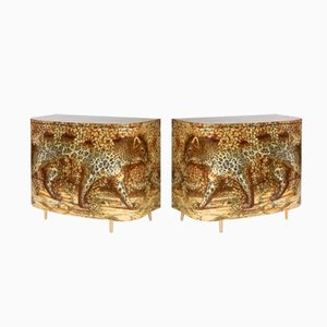 Leopardo Chest of Drawers by Piero Fornasetti for Barnaba Fornasetti, 1980s, Set of 2