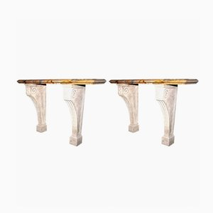 Antique Sarrancolin Marble Console Table, Set of 2