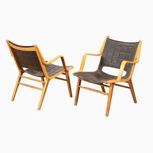 Erstausgabe Modell AX Easy Chairs von Peter Hvidt und Orla Molgaard für Fritz Hansen, 1947, 2er Set