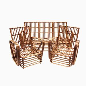 Italian Bamboo Living Room Set from Dal Vera, 1970s