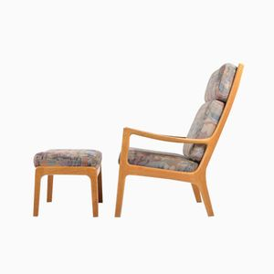 Highback Lounge Chair with Ottoman by Ole Wanscher for P. Jeppesens Møbelfabrik