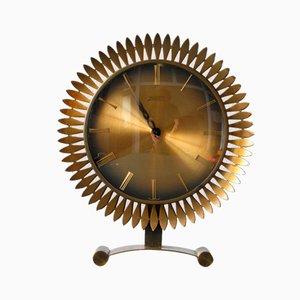 Orologio da tavolo Sunburst in ottone di Atlanta Univers Junghans, anni '60