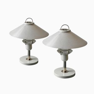 Large Vintage Glass Lampshade Table Lamps, Set of 2