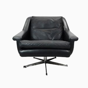 Chrome and Black Leather Swivel Chair, 1960s