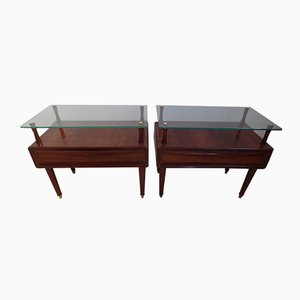 Italian Mahogany Night Stands, Set of 2