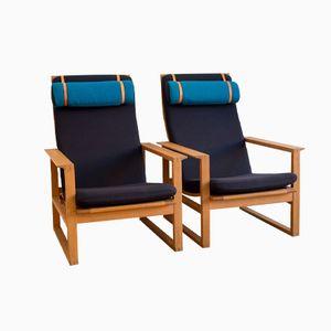 Modell 2254 Armlehnstühle von Borge Mogensen für Fredericia, 2er Set