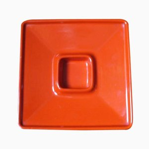 Orange ceramic ashtray by Angelo Mangiarotti