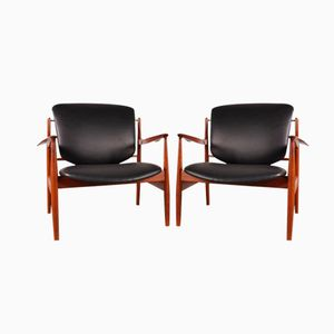 FD 136 Easy Chairs by Finn Juhl for France & Son, 1950s, Set of 2