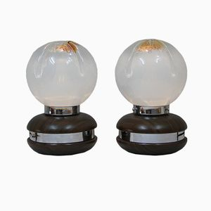 Vintage Murano Glass Table Lamps from Mazzega, Set of 2