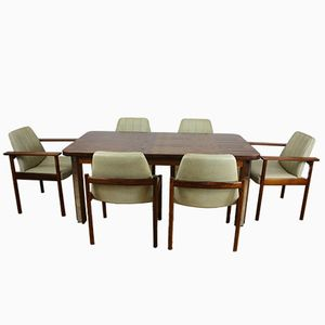 Midcentury Rosewood Dining Set by Sven Ivar Dysthe for Mobler, Set of 7