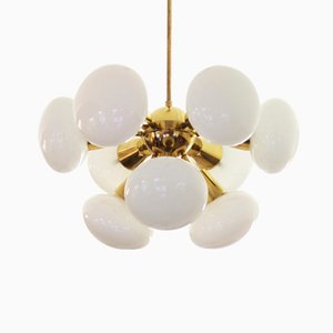 Mid-Century Sputnik Milk Glass Chandelier, 1960s