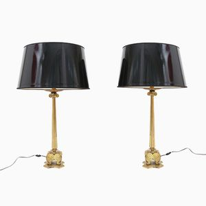 French Brass Lamps, 1970s, Set of 2