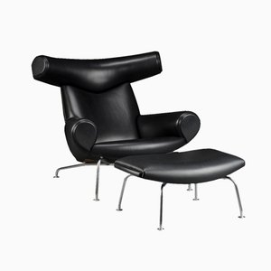 Vintage EJ-100 Ox Chair and Ottoman by Hans J. Wegner for Erik Jorgensen