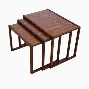 Danish Rosewood Nesting Tables by Kai Kristiansen, 1950s, Set of 3