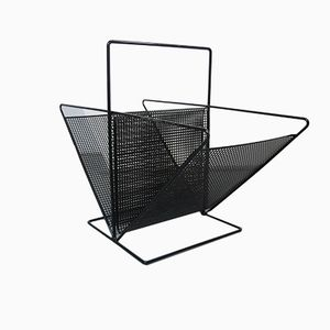 French Perforated Steel Magazine Rack