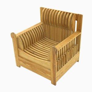 Pine Lounge Chair by Mario Ceroli for Poltronova, 1970s