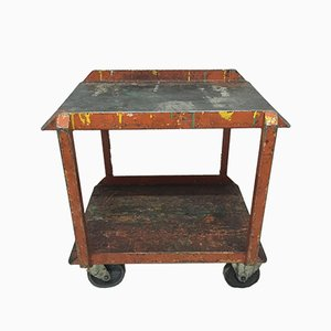 Vintage Industrial Iron Factory Trolley