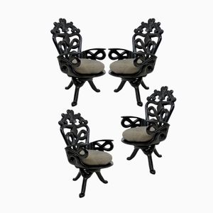 French Surrealist Armchairs, 1950s, Set of 4