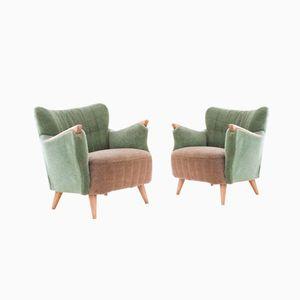 Dänische Sessel in Pastell Grün und Beige, 1950er, 2er Set